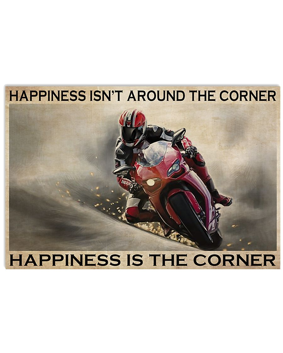 vintage motor racing happiness isnt around the corner happiness is the corner poster 1
