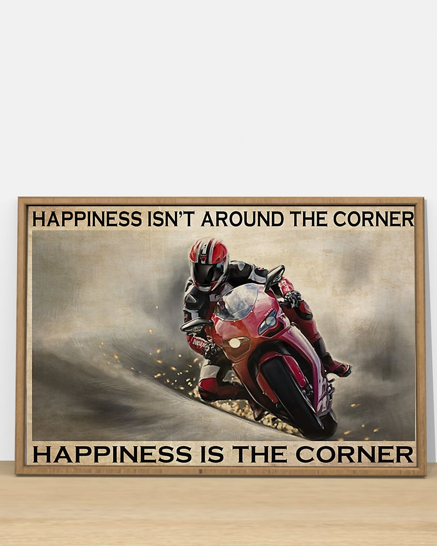 vintage motor racing happiness isnt around the corner happiness is the corner poster 2