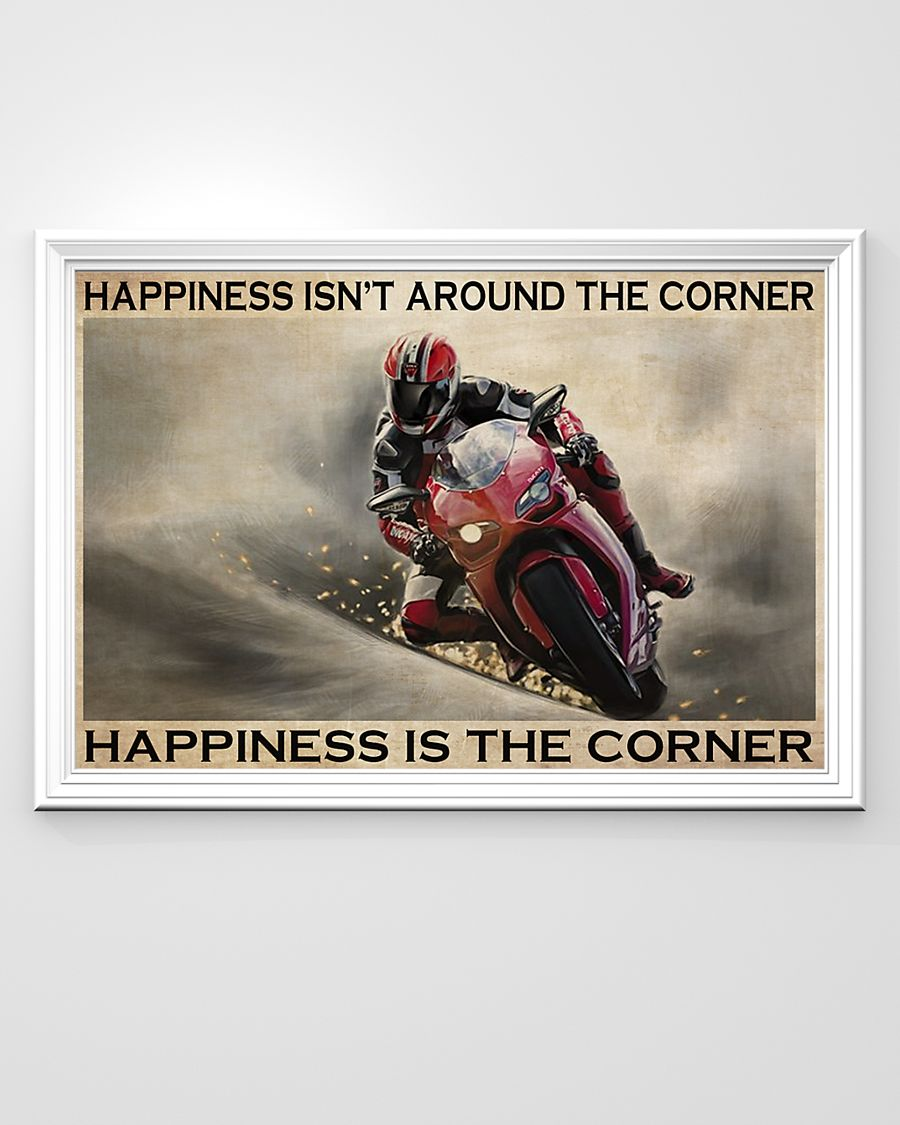 vintage motor racing happiness isnt around the corner happiness is the corner poster 3