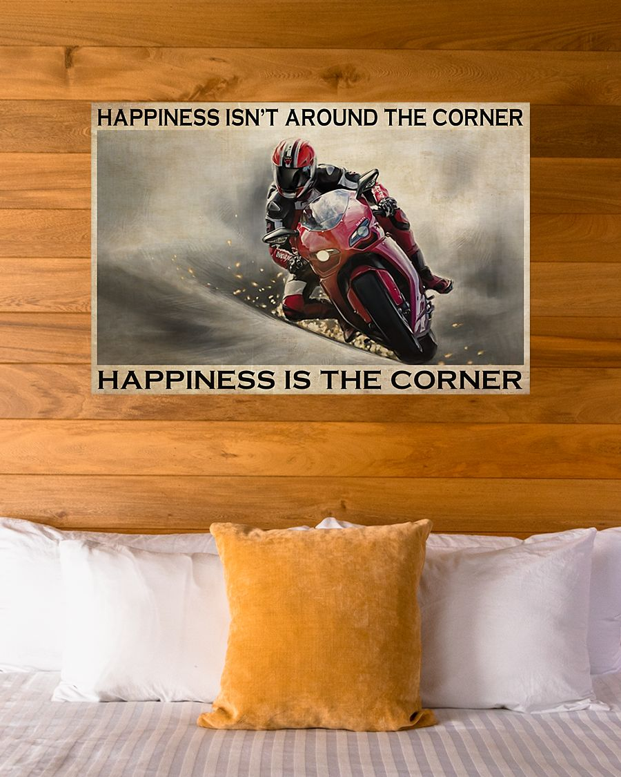 vintage motor racing happiness isnt around the corner happiness is the corner poster 4