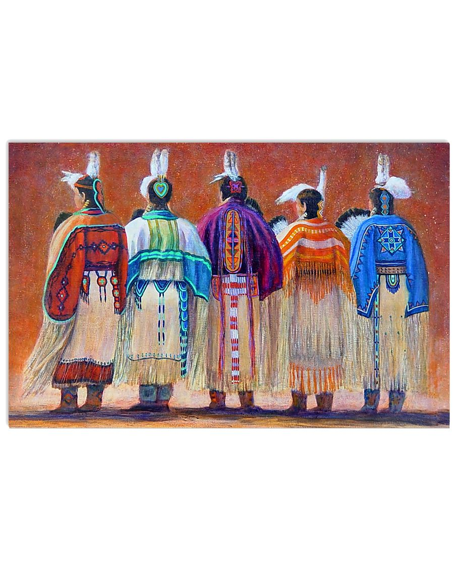 vintage native american women colorful wall art poster 1