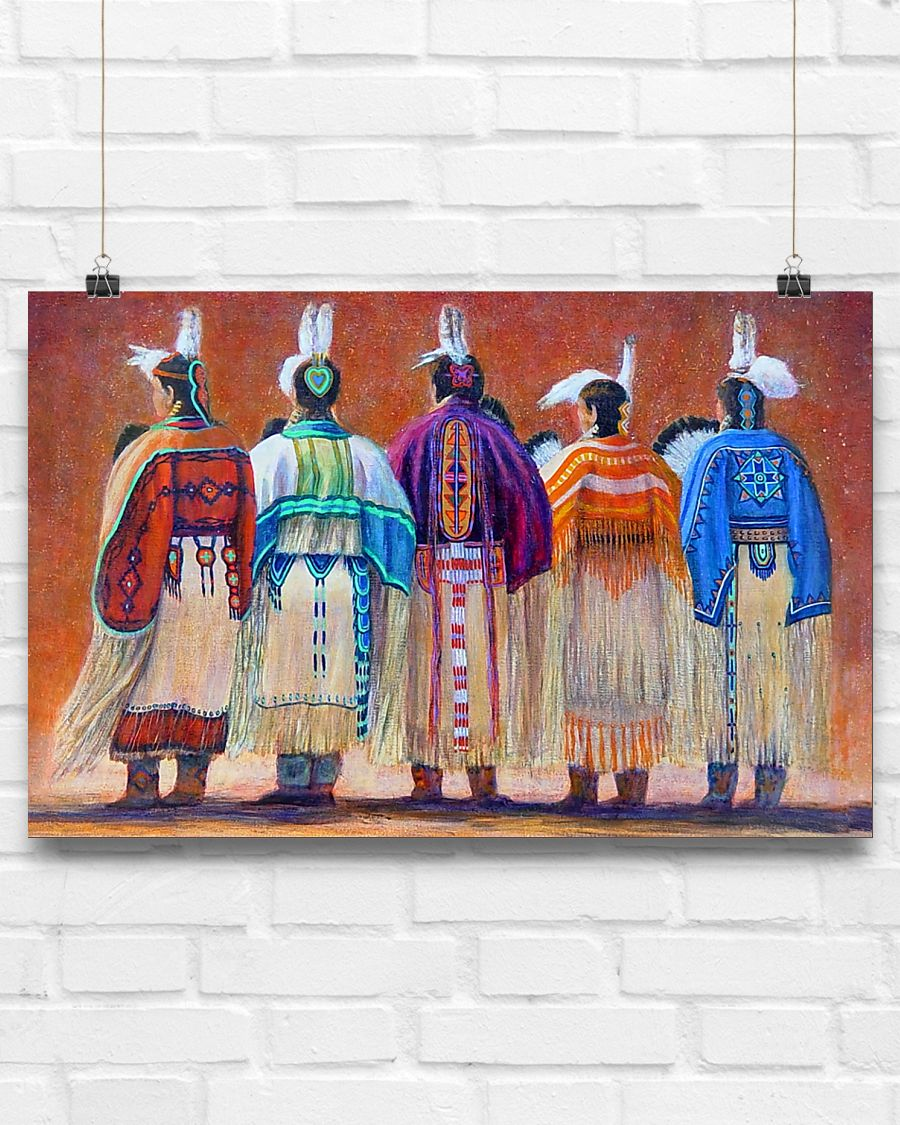 vintage native american women colorful wall art poster 2