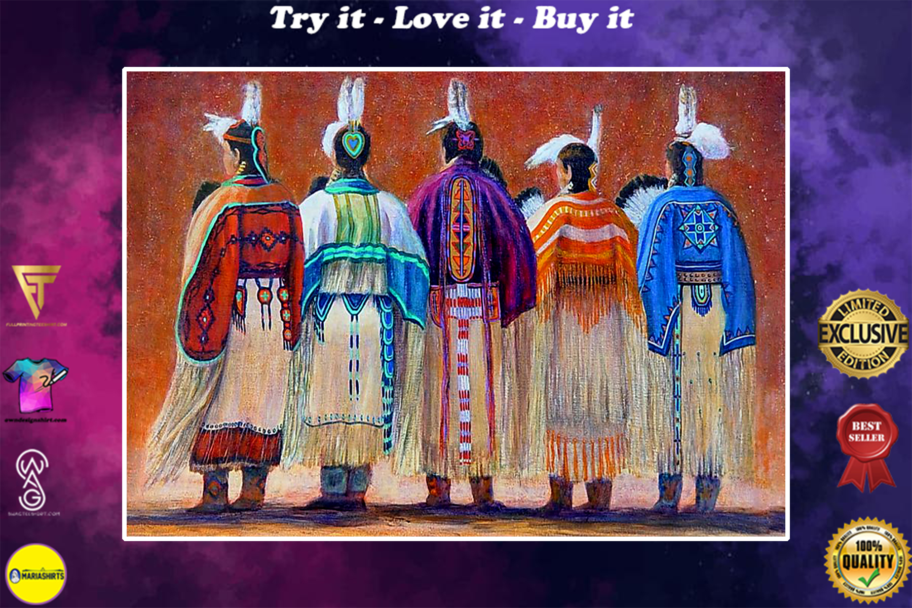vintage native american women colorful wall art poster