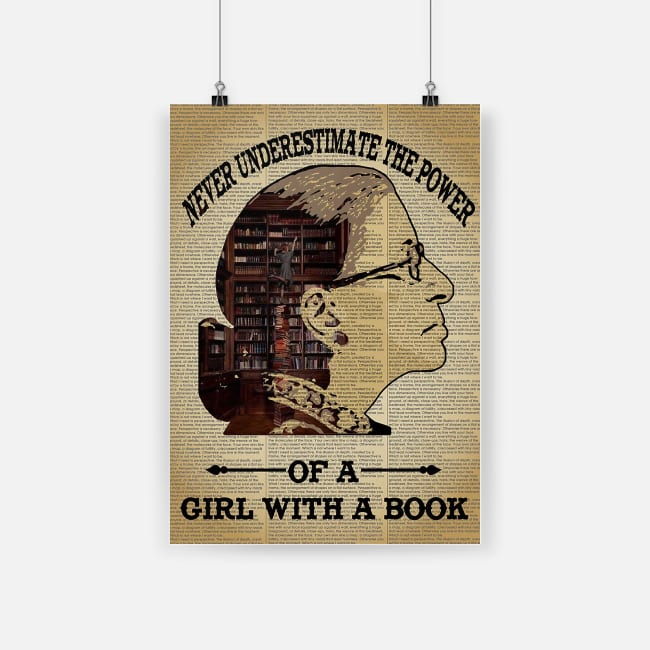 vintage never underestimate the power of a girl with a book poster 1