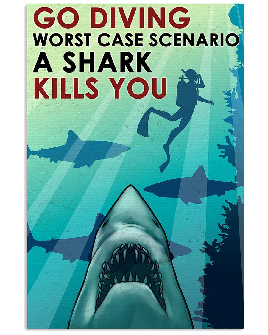 vintage scuba go diving worst case scenario a shark kills you poster 1