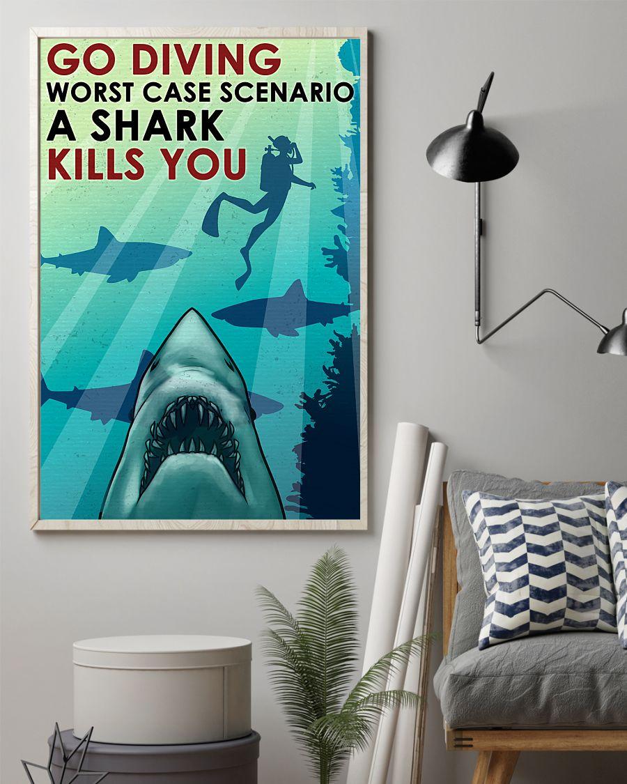 vintage scuba go diving worst case scenario a shark kills you poster 2