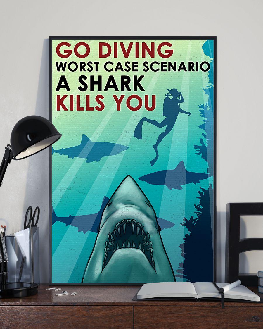 vintage scuba go diving worst case scenario a shark kills you poster 3