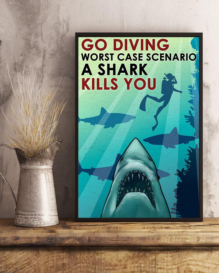 vintage scuba go diving worst case scenario a shark kills you poster 4