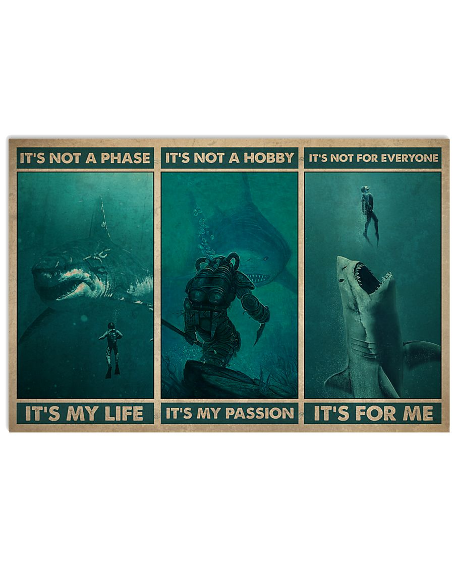 vintage scuba its not a phase its my life its not a hobby its my passion poster 1