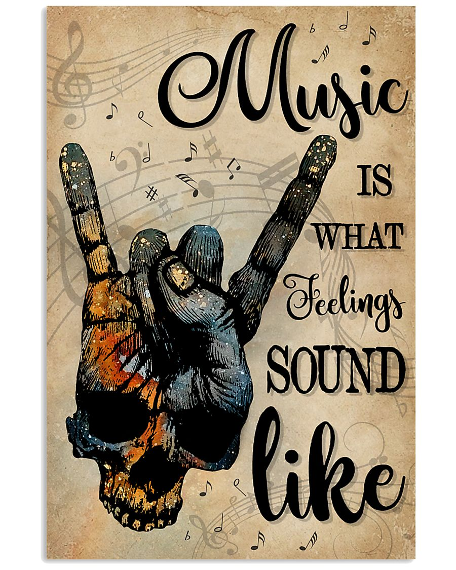 vintage skull rock hand music is what feelings sound like poster 1