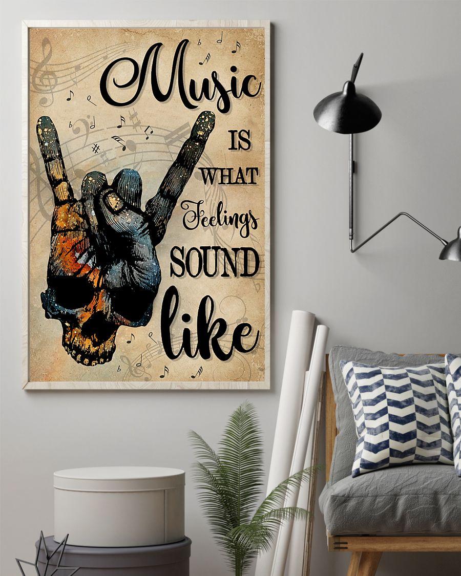 vintage skull rock hand music is what feelings sound like poster 2