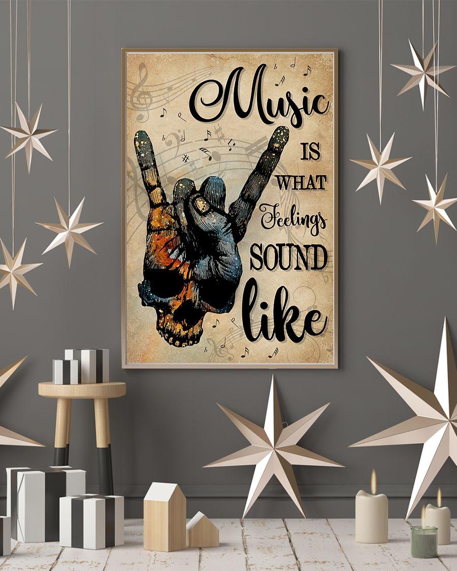 vintage skull rock hand music is what feelings sound like poster 3