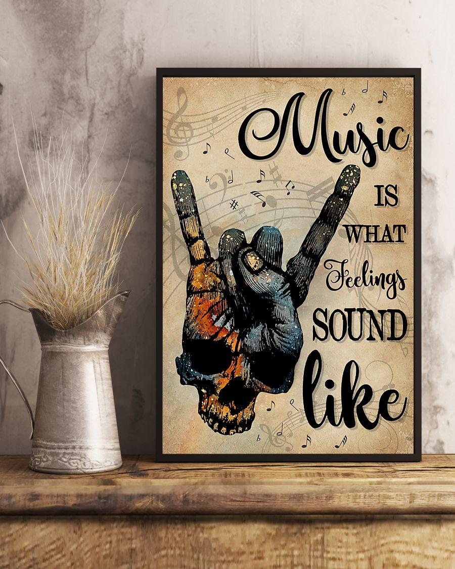vintage skull rock hand music is what feelings sound like poster 4