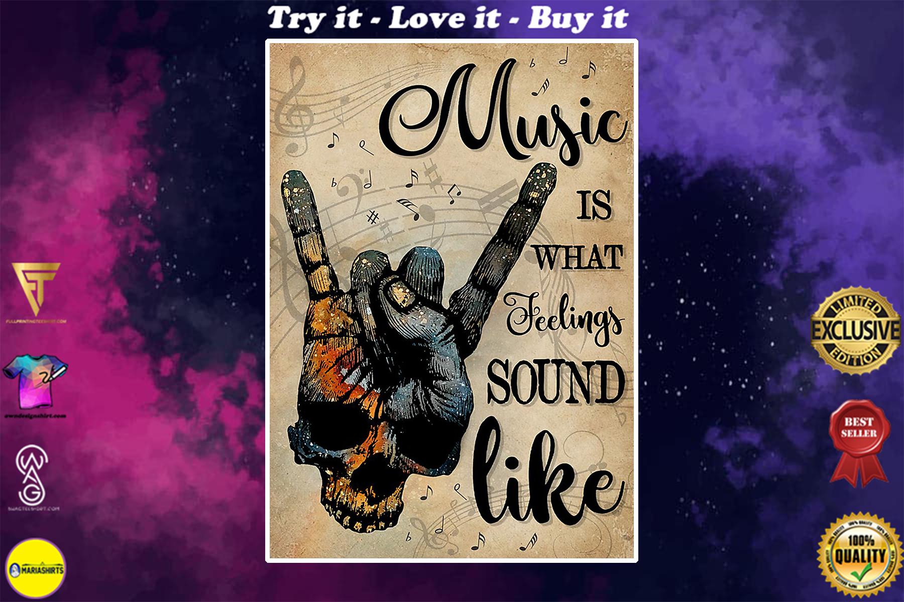 vintage skull rock hand music is what feelings sound like poster