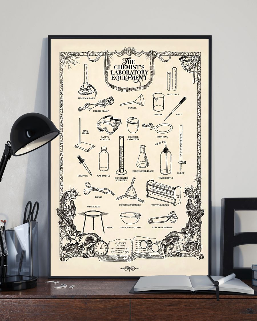 vintage the chemists laboratory equipment poster 1
