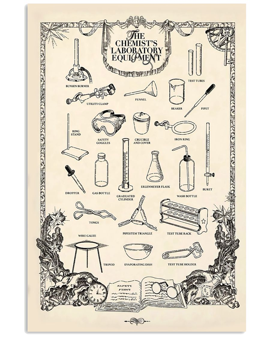 vintage the chemists laboratory equipment poster 2