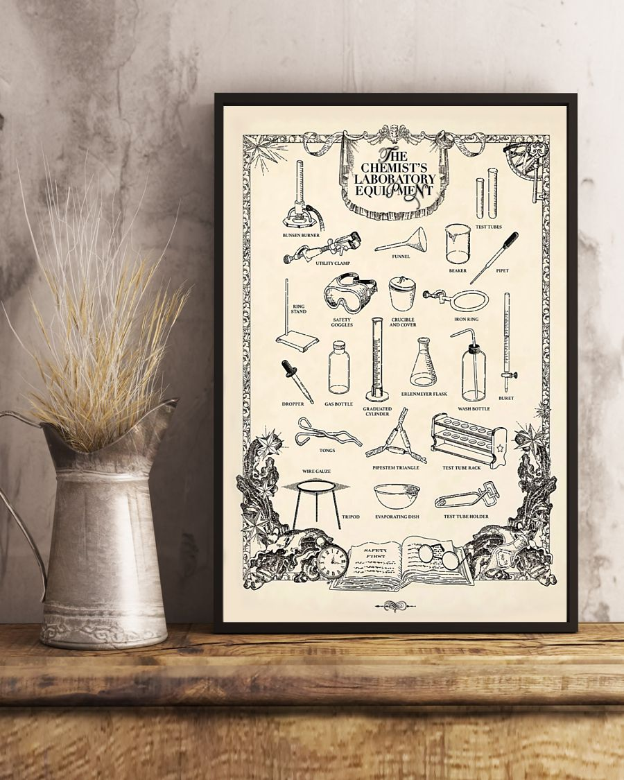 vintage the chemists laboratory equipment poster 3