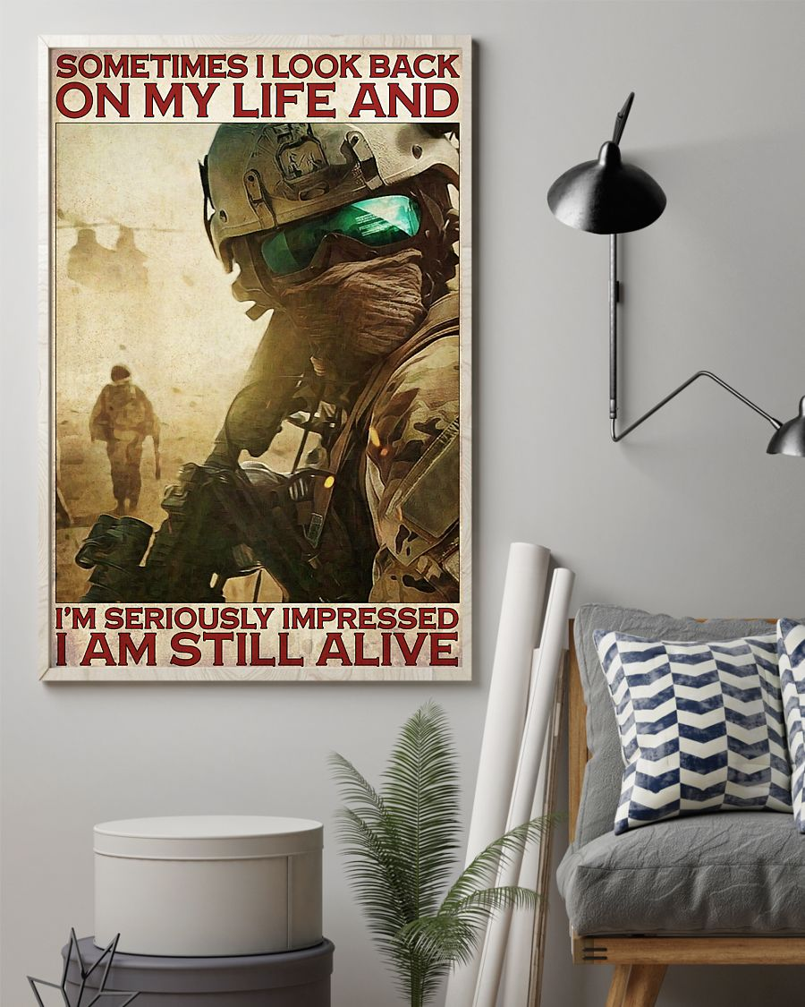 vintage veteran sometimes i look back on my life and im seriously impressed i am still alive poster 2