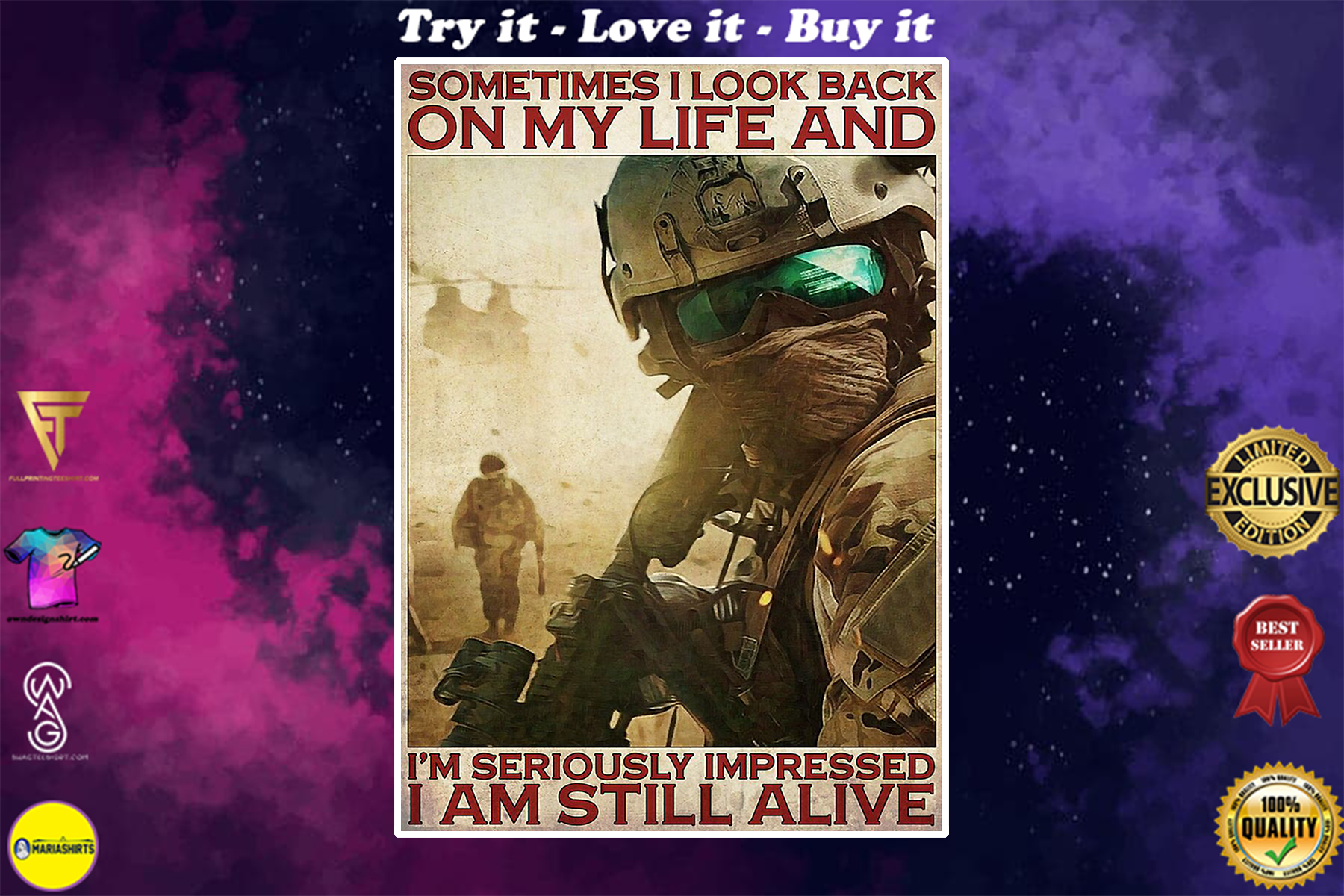 vintage veteran sometimes i look back on my life and im seriously impressed i am still alive poster