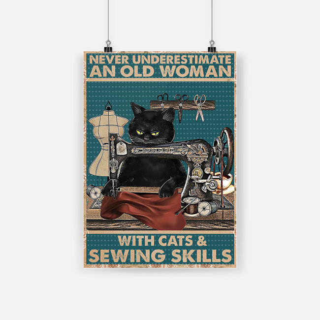vintage you never underestimate an old woman with cats and sewing skills poster 1