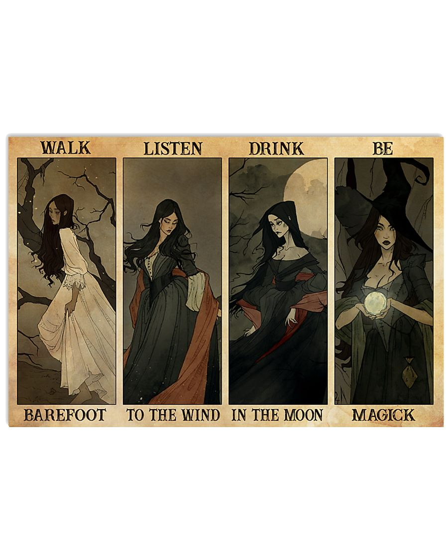 witch walk barefoot listen to the wind drink in the moon be magick poster 1