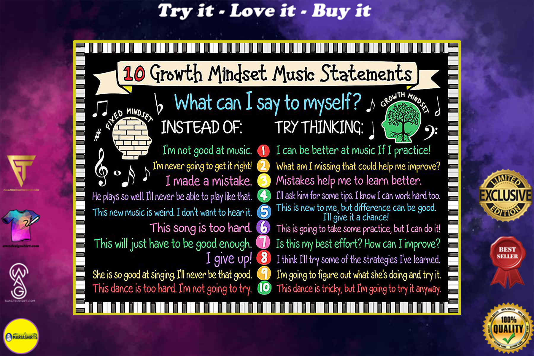 10 growth mindset music statements poster