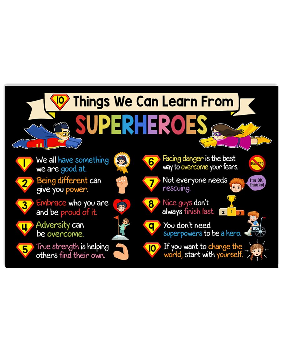 10 things we can learn from superheroes poster 1