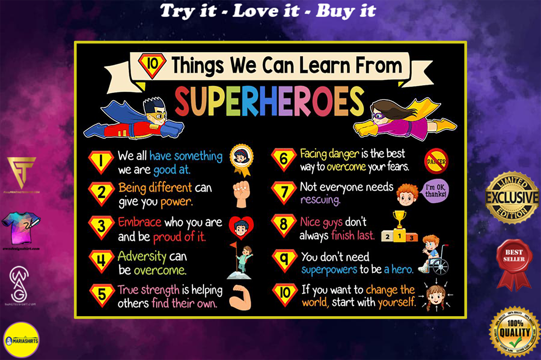 10 things we can learn from superheroes poster