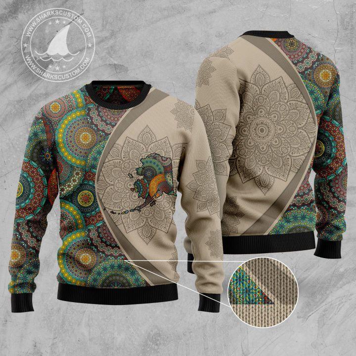 alaska mandala all over printed ugly christmas sweater 1