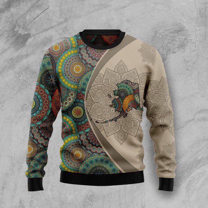 alaska mandala all over printed ugly christmas sweater 3