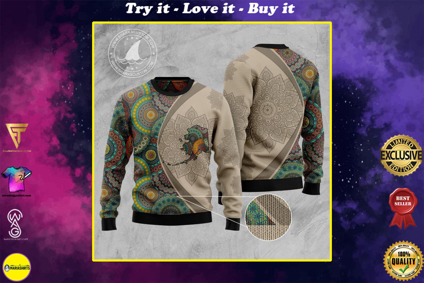 alaska mandala all over printed ugly christmas sweater