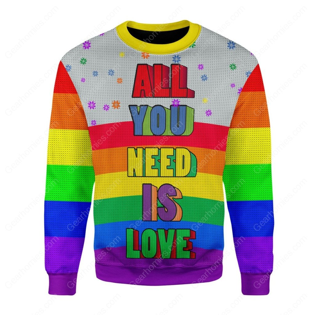 all you need is love lgbt all over printed ugly christmas sweater 1