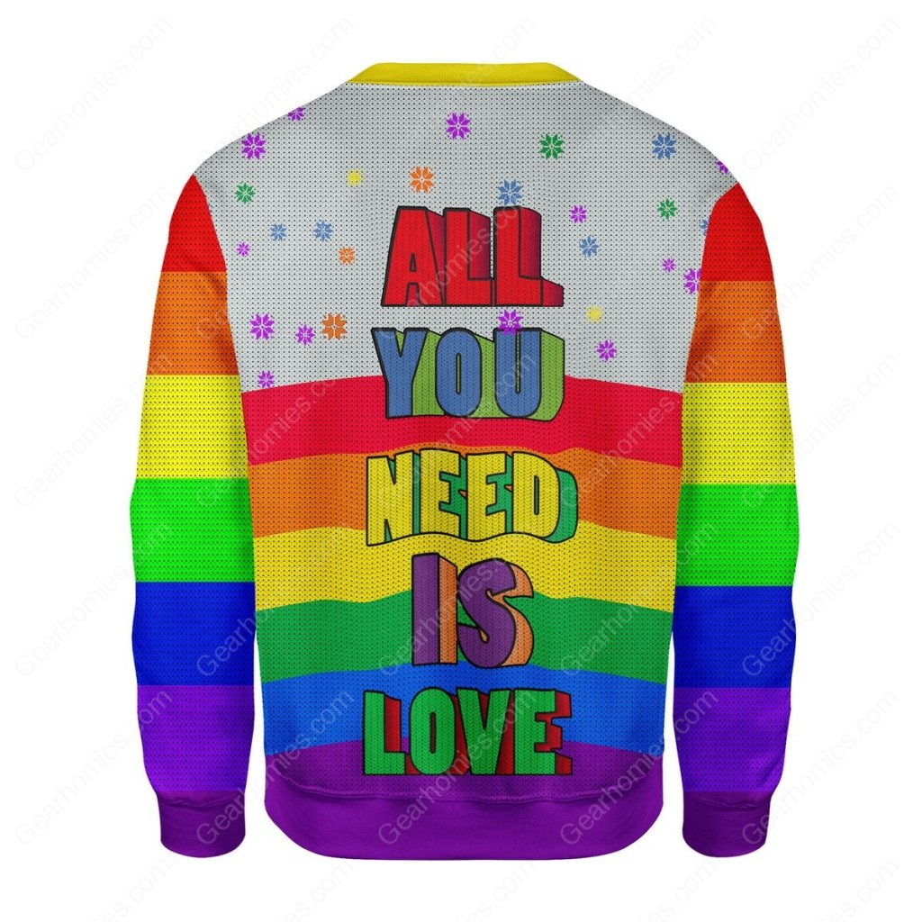 all you need is love lgbt all over printed ugly christmas sweater 4