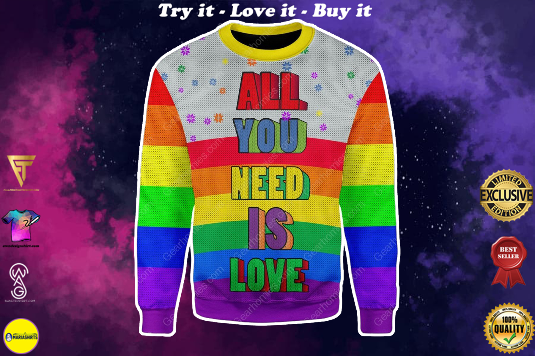 all you need is love lgbt all over printed ugly christmas sweater