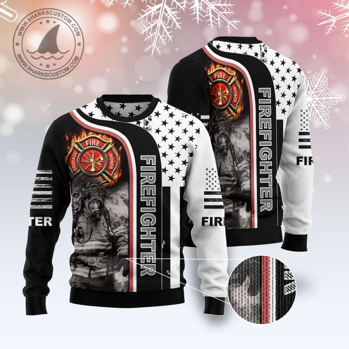 american flag firefighter all over printed ugly christmas sweater 1