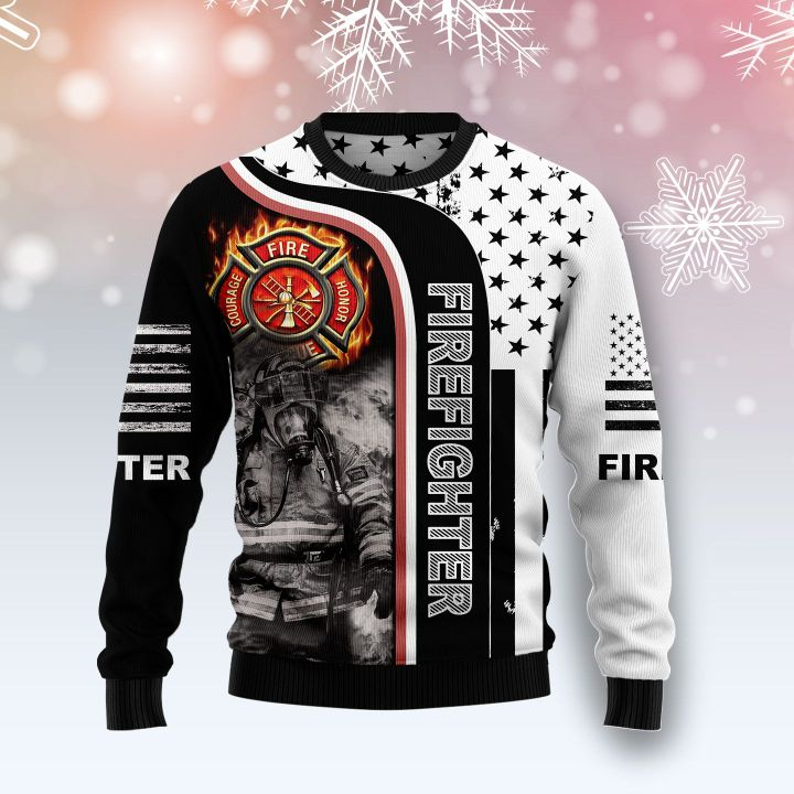 american flag firefighter all over printed ugly christmas sweater 2