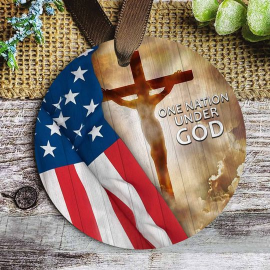 american flag one nation under God christmas ornament 2