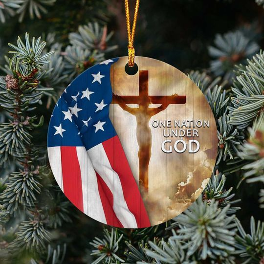 american flag one nation under God christmas ornament 4