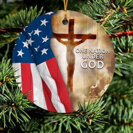 american flag one nation under God christmas ornament 5