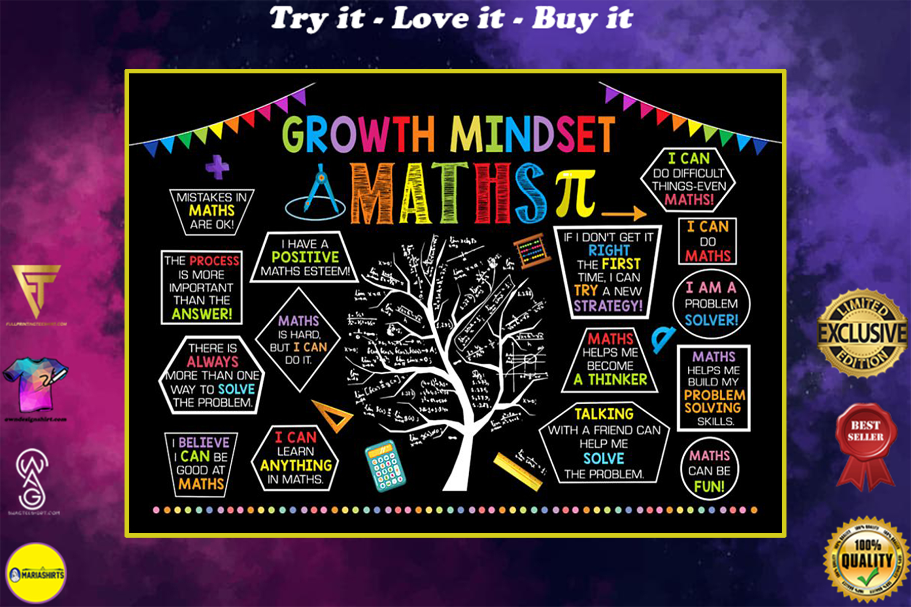 back to school growth mindset maths poster