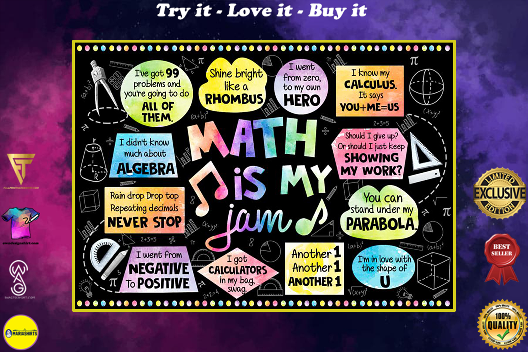 back to school math is my jam poster