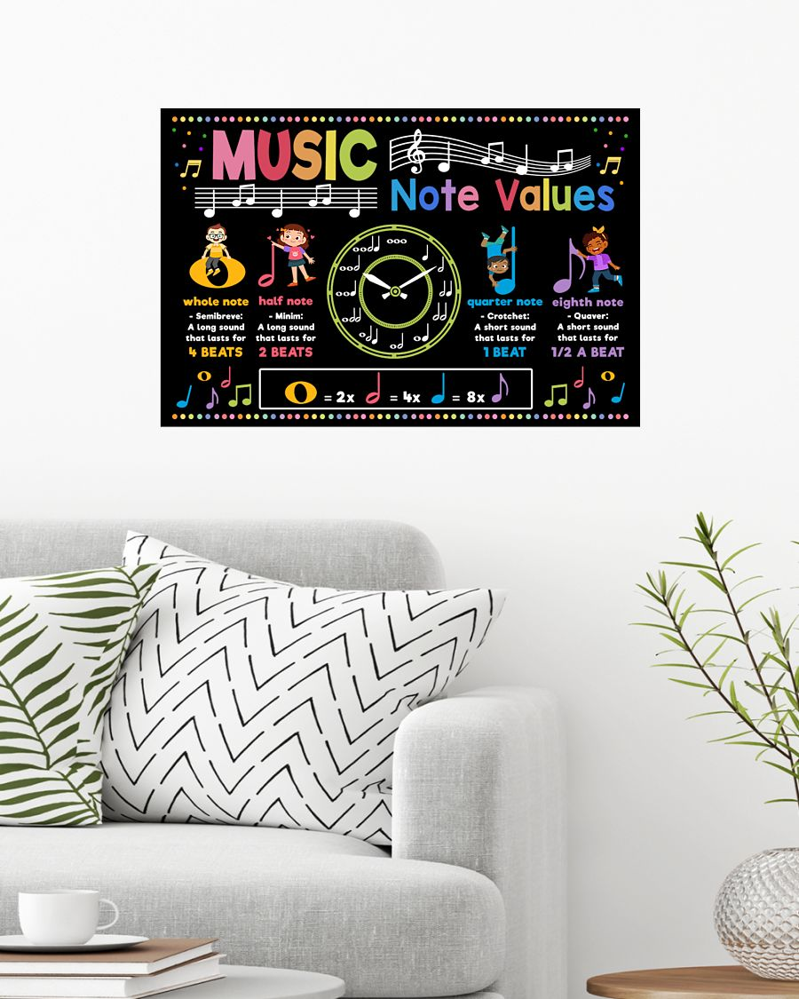 back to school music note values poster 2