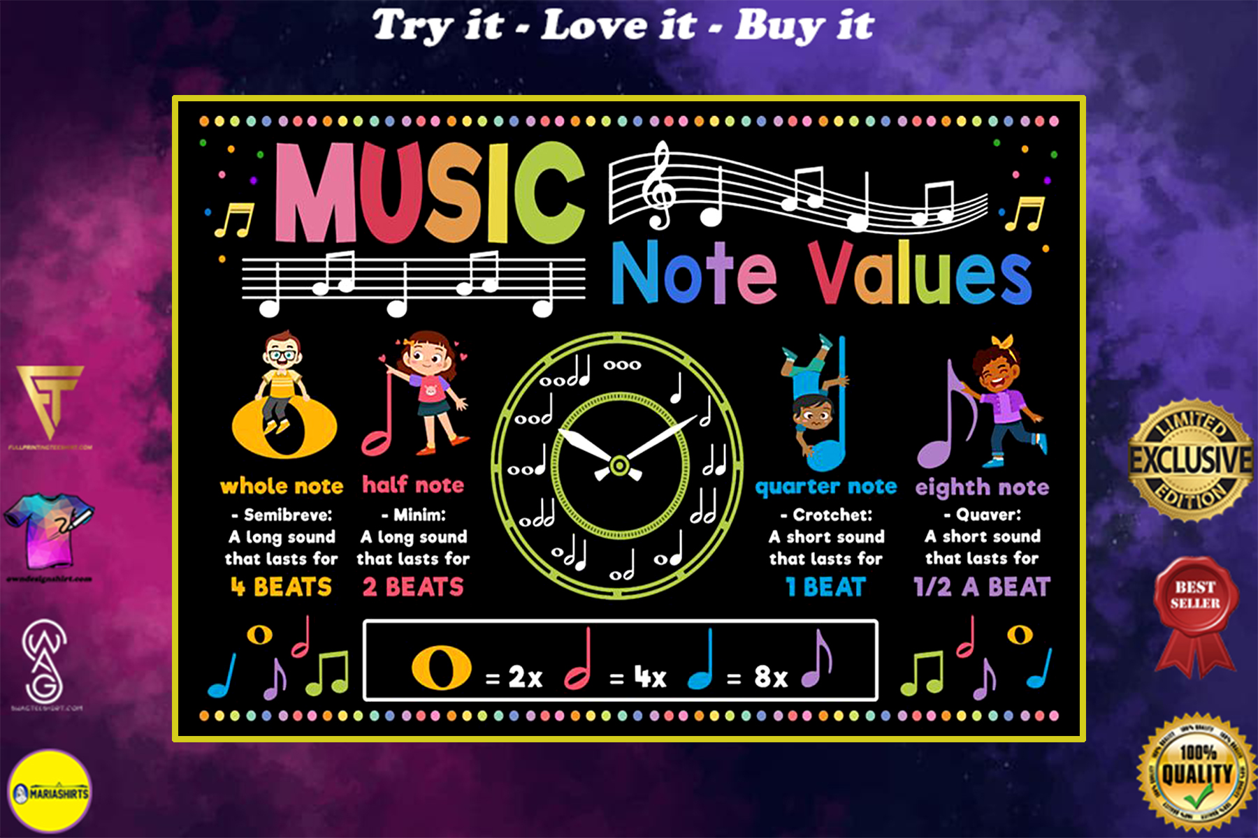 back to school music note values poster