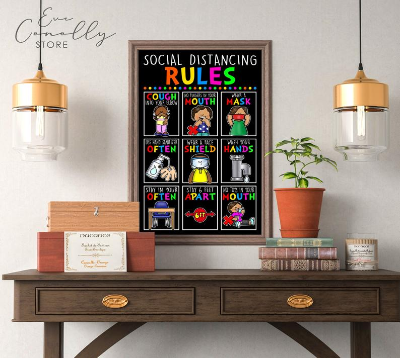 back to school social distancing classroom rules poster 1