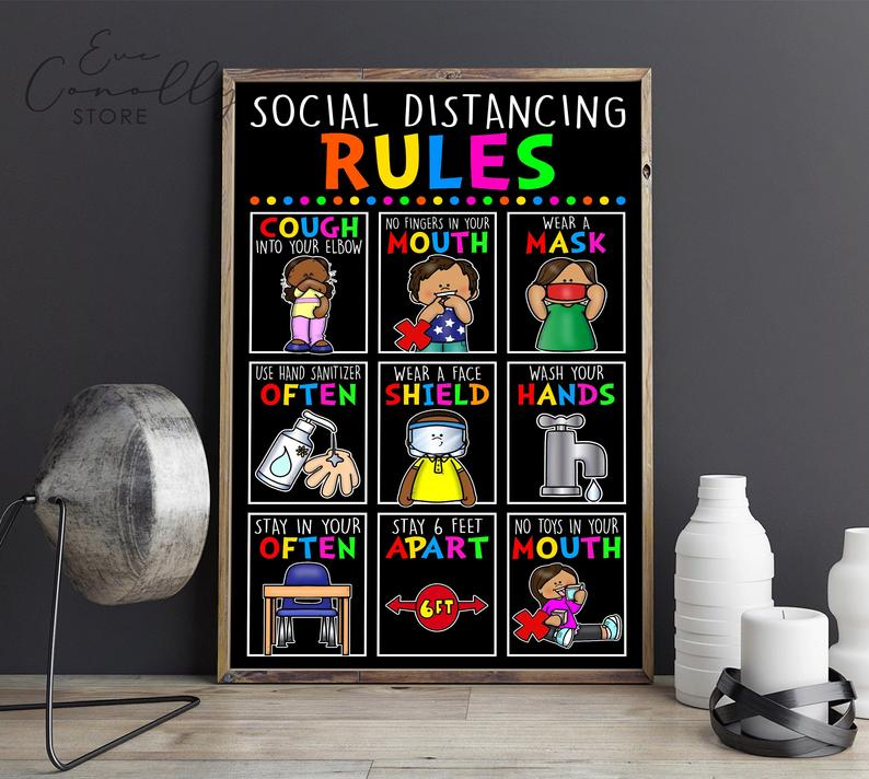 back to school social distancing classroom rules poster 3