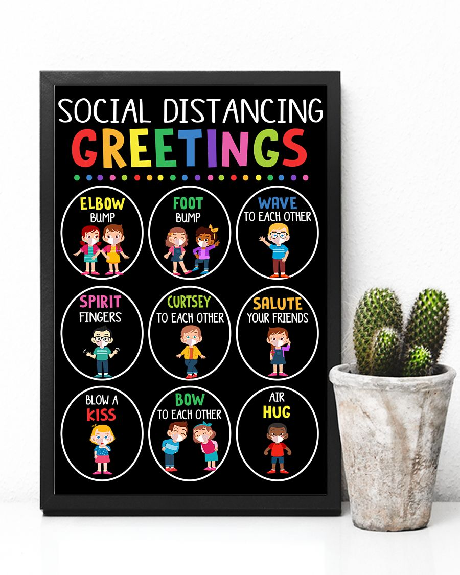 back to school social distancing greetings classroom poster 4