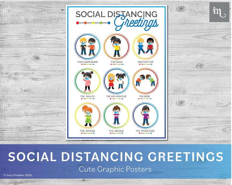 back to school social distancing greetings poster 1