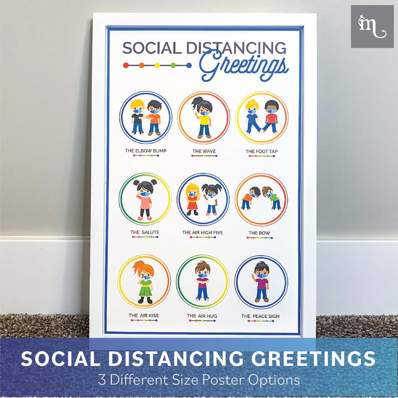 back to school social distancing greetings poster 4