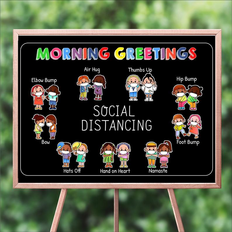 back to school social distancing morning greetings poster 1