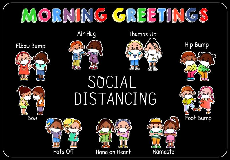 back to school social distancing morning greetings poster 4